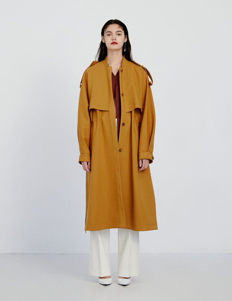 Mustard orange band collar over fit single coat