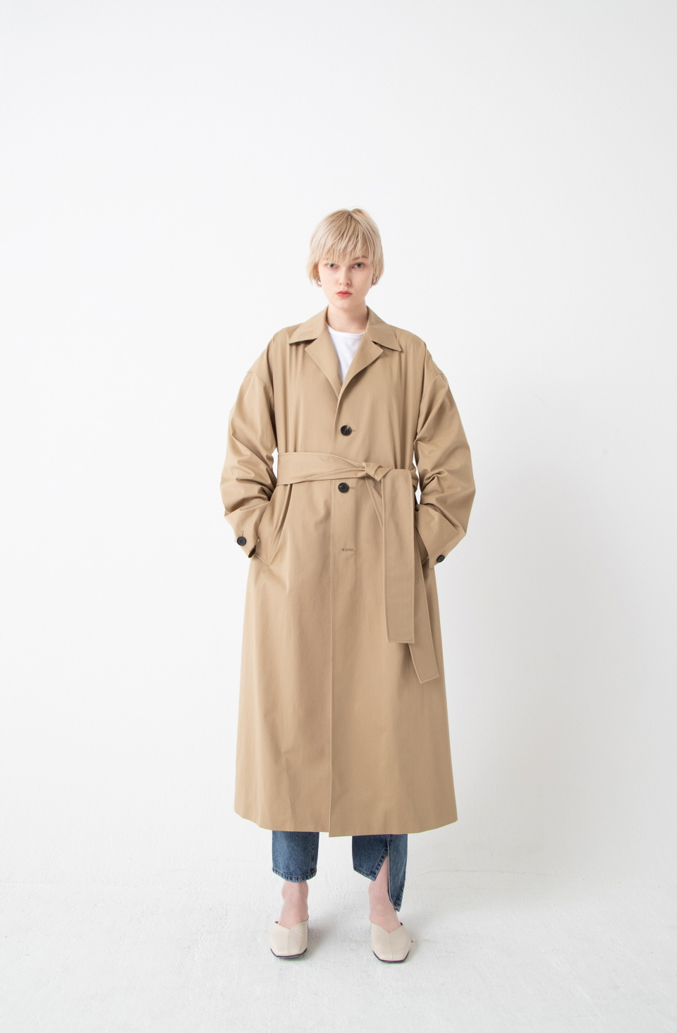 BEIGE OVER FIT SINGLE TRENCH COAT